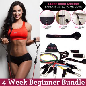 4 Week Total Body Resistance Band Set + Workouts Beginner Bundle